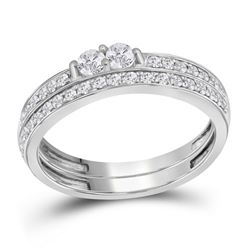 0.49 CTW Diamond 2-Stone Bridal Wedding Engagement Ring 10KT White Gold - REF-38M9H