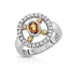 1.08 CTW Yellow Sapphire & Diamond Ring 14K 2Tone Gold - REF-50K9W