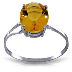 Genuine 2.2 ctw Citrine Ring Jewelry 14KT White Gold - REF-27P8H