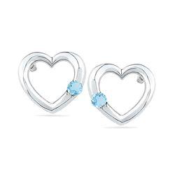 0.12 CTW Created Blue Topaz Heart Love Earrings 10KT White Gold - REF-12M8H
