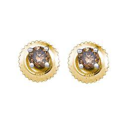 1 CTW Cognac-brown Color Diamond Solitaire Earrings 10KT Yellow Gold - REF-48K7W