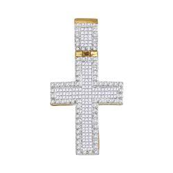 0.95 CTW Mens Princess Diamond Raised Edge Cross Charm Pendant 10KT Yellow Gold - REF-52X4Y