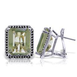 Genuine 11.60 ctw Green Amethyst & Black Diamond Earrings Jewelry 14KT White Gold - REF-127V9W