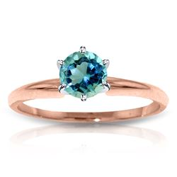 Genuine 0.65 ctw Blue Topaz Ring Jewelry 14KT Rose Gold - REF-26H9X