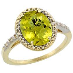 Natural 2.42 ctw Lemon-quartz & Diamond Engagement Ring 10K Yellow Gold - REF-24W6K