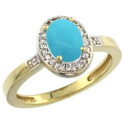 Natural 1.08 ctw Turquoise & Diamond Engagement Ring 10K Yellow Gold - REF-27K2R
