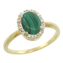 Natural 1.69 ctw Malachite & Diamond Engagement Ring 14K Yellow Gold - REF-25G6M
