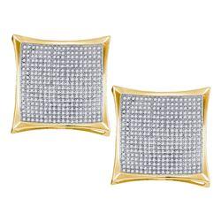 2.01 CTW Diamond Square Kite Cluster Screwback Earrings 10KT Yellow Gold - REF-142M4H