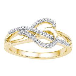 0.16 CTW Diamond Heart Infinity Ring 10KT Yellow Gold - REF-20X9Y