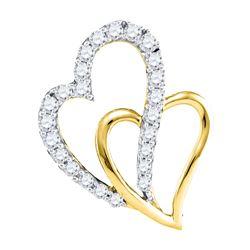 0.37 CTW Diamond Double Heart Pendant 10KT Yellow Gold - REF-34X4Y