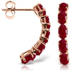 Genuine 2.5 ctw Ruby Earrings Jewelry 14KT Rose Gold - REF-43K8V