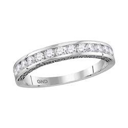 0.50 CTW Diamond Single Row Wedding Ring 14KT White Gold - REF-44Y9X