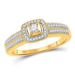0.25 CTW Diamond Solitaire Double Row Milgrain Bridal Ring 10KT Yellow Gold - REF-30N2F
