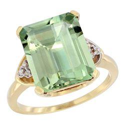 Natural 5.44 ctw green-amethyst & Diamond Engagement Ring 10K Yellow Gold - REF-32F2N