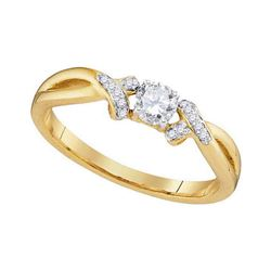 0.33 CTW Diamond Solitaire Bridal Engagement Ring 10KT Yellow Gold - REF-41X9Y