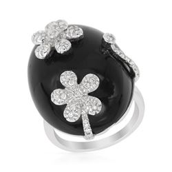 38.46 CTW Onyx & Diamond Ring 14K White Gold - REF-54Y5X