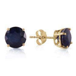Genuine 3.3 ctw Sapphire Earrings Jewelry 14KT Yellow Gold - REF-36K9V