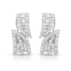 2 CTW Diamond Earrings 18K White Gold - REF-217K2W