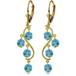Genuine 4.95 ctw Blue Topaz Earrings Jewelry 14KT Yellow Gold - REF-53X8M