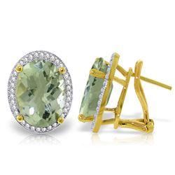 Genuine 10.56 ctw Amethyst & Diamond Earrings Jewelry 14KT White Gold - REF-128T3A