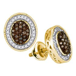 0.50 CTW Cognac-brown Color Diamond Oval Cluster Earrings 10KT Yellow Gold - REF-30N2F