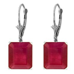 Genuine 15 ctw Ruby Earrings Jewelry 14KT White Gold - REF-114A3K