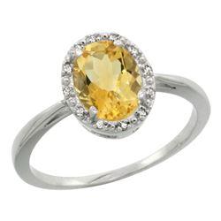 Natural 1.22 ctw Citrine & Diamond Engagement Ring 14K White Gold - REF-27Y2X