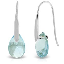 Genuine 6 ctw Blue Topaz Earrings Jewelry 14KT White Gold - REF-38Y5F