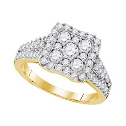 1.19 CTW Diamond Square Cluster Halo Bridal Engagement Ring 10KT Yellow Gold - REF-132M2H