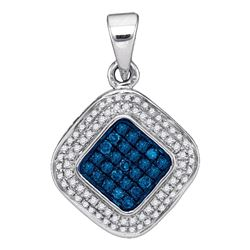 0.25 CTW Blue Color Diamond Diagonal Square Cluster Pendant 10KT White Gold - REF-18Y2X