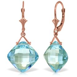 Genuine 17.5 ctw Blue Topaz Earrings Jewelry 14KT Rose Gold - REF-36V3W