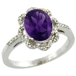 Natural 1.85 ctw Amethyst & Diamond Engagement Ring 14K White Gold - REF-38G6M