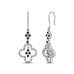 0.15 CTW Black Color Diamond Wire Dangle Ear-wire Earrings 10KT White Gold - REF-19Y4X