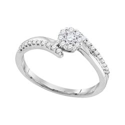 0.25 CTW Diamond Cluster Bridal Engagement Ring 10KT White Gold - REF-30M2H