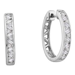 0.50 CTW Diamond Hoop Earrings 14KT White Gold - REF-67W4K