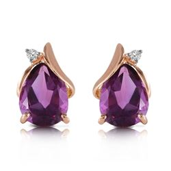 Genuine 3.16 ctw Amethyst & Diamond Earrings Jewelry 14KT Rose Gold - REF-45N2R