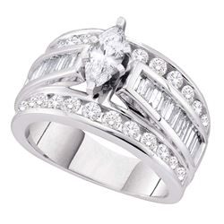 1 CTW Marquise Diamond Solitaire Bridal Engagement Ring 14KT White Gold - REF-127W4K