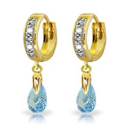 Genuine 1.37 ctw Blue Topaz & Diamond Earrings Jewelry 14KT Yellow Gold - REF-34T3A