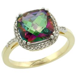 Natural 4.11 ctw Mystic-topaz & Diamond Engagement Ring 10K Yellow Gold - REF-34G3M