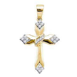 0.18 CTW Diamond Cross Crucifix Pendant 14k Yellow Gold - REF-25M4H