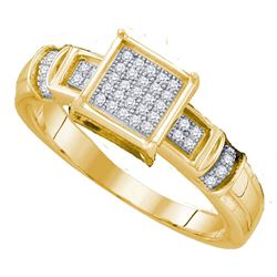 0.12 CTW Diamond Cluster Bridal Engagement Ring 10KT Yellow Gold - REF-19N4F