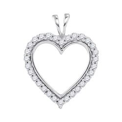 0.25 CTW Diamond Heart Outline Pendant 10KT White Gold - REF-22X4Y