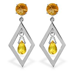 Genuine 2.4 ctw Citrine Earrings Jewelry 14KT White Gold - REF-39T3A