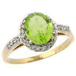 Natural 1.49 ctw Peridot & Diamond Engagement Ring 10K Yellow Gold - REF-26N3G