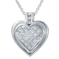 0.50 CTW Diamond Necklace 14K White Gold - REF-49X9R