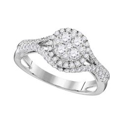 1.03 CTW Diamond Cluster Bridal Engagement Ring 10KT White Gold - REF-119F9N