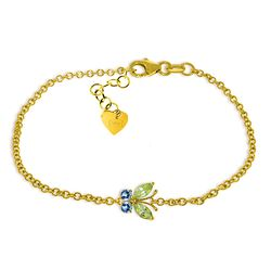 Genuine 0.60 ctw Blue Topaz & Peridot Bracelet Jewelry 14KT Yellow Gold - REF-41R6P