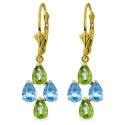 Genuine 4.5 ctw Blue Topaz & Peridot Earrings Jewelry 14KT Yellow Gold - REF-41X2M