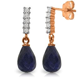 Genuine 6.75 ctw Sapphire & Diamond Earrings Jewelry 14KT Rose Gold - REF-39N4R