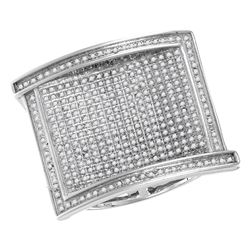 1.02 CTW Mens Pave-set Diamond Rectangle Cluster Ring 10KT White Gold - REF-89M9H